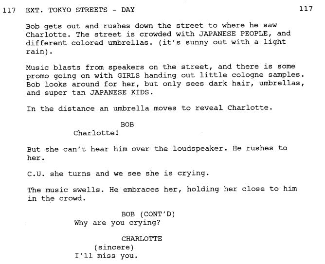 Lost in Translation script excerpt